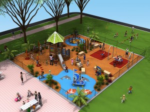 Combination Outdoor Fixed Equipment and Natural Play Spaces